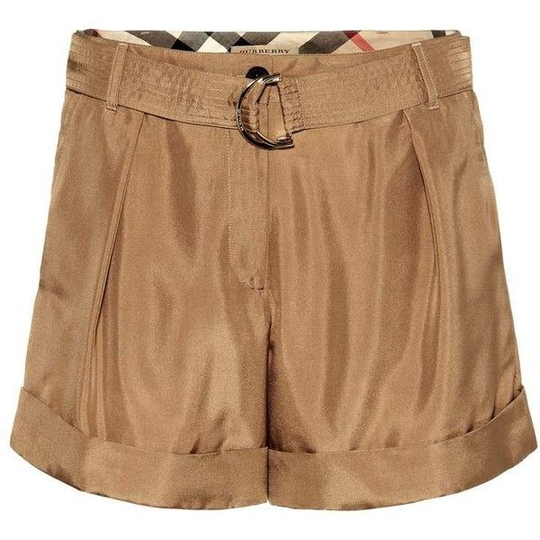 Burberry Silk Shorts ($276) ❤ liked on Polyvore featuring shorts, brown, silk shorts, burberry, burberry shorts and brown shorts
