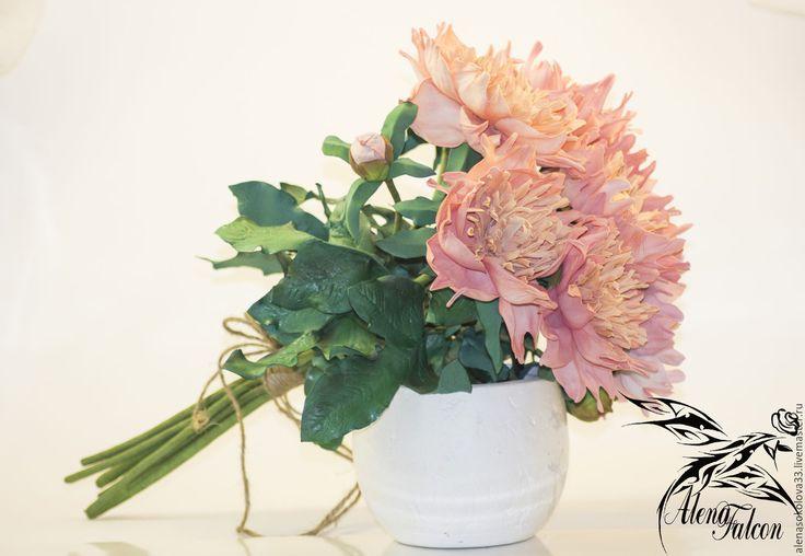 Купить Букет розовых пионов - бледно-розовый, букет пионов, пион купить, купить букет