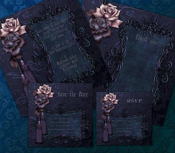 Luxury Dark Gothic Wedding Invitation Package Printable