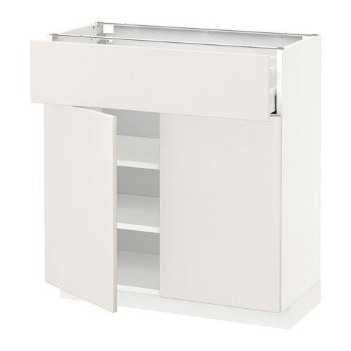 METOD / MAXIMERA Bänkskåp med låda/2 dörrar - Veddinge vit, vit, 80x37 cm - IKEA