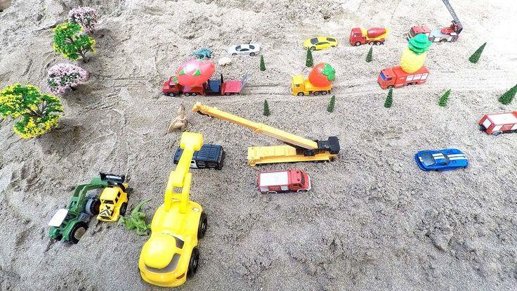 Car toys video, Fruits truck, construction truck  for children, POB KIDS