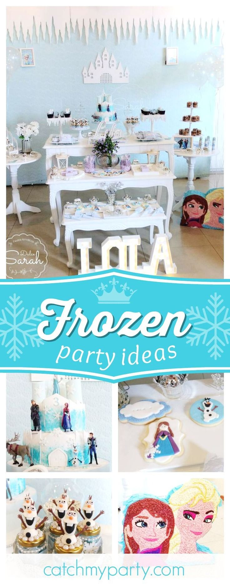 CHeck out this gorgeous Frozen birthday party! The pinata is adorable!! See more party ideas and share yours at CatchMyParty.com #partyideas #catchmyparty #frozen #girlbirthday #princess