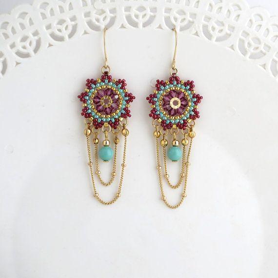 Beaded Chandelier Earrings Crystal By Liorabjewelry