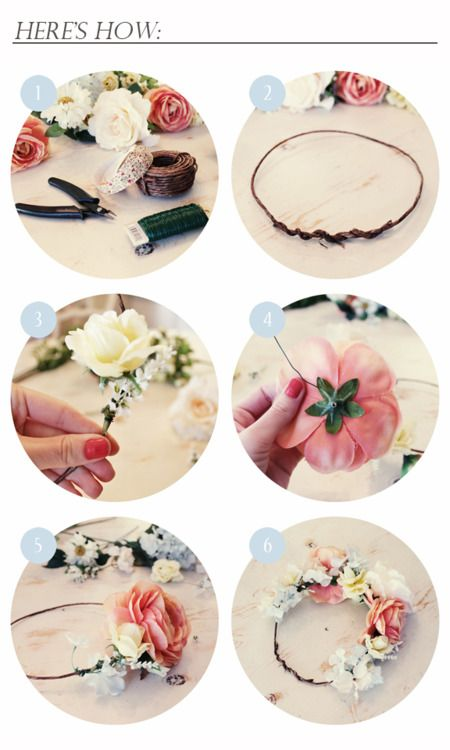 Very pretty DIY floral crown... and perfect for spring of course!