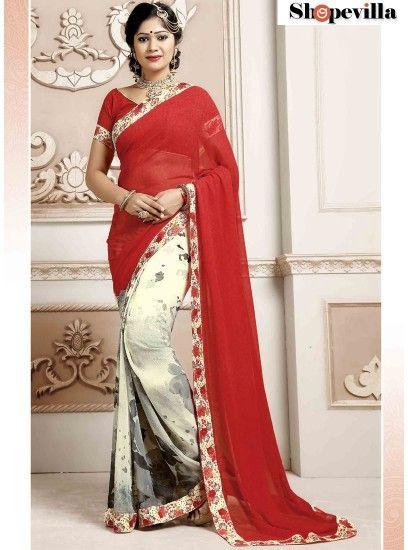 Red Weightless Spray Print Saree-TM-240
