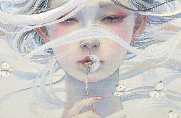 Pinturas delicadas de mulher ethereal submersa com a natureza - Designlov