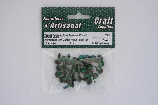 ZP220-88 Animal Eyes With Clutch 9 mm. Green 12 Pieces