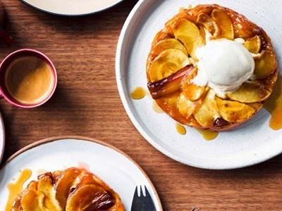Rhubarb and apple tarte Tatin with Calvados ice-cream