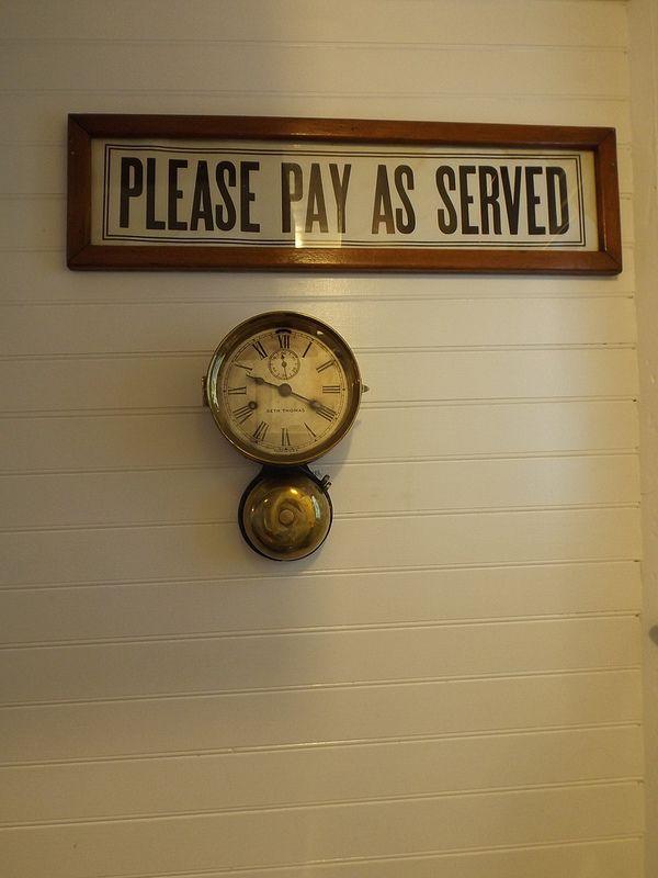 View of original vintage sign, displayed behind the bar of the gentleman's saloon. Vintage Wedding Venue Okanagan (1)