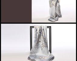 Luxusná hodvábna šatka so strieborno-zlatým vzorom