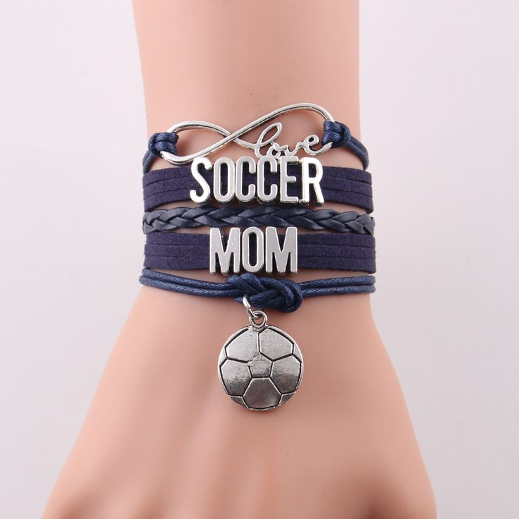 Little Minglou 7 colors Infinity love soccer mom bracelet football charm leather wrap bracelets & bangles for women jewelry
