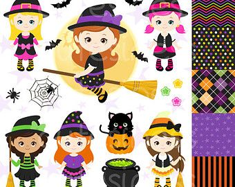 Halloween Clipart Halloween Witch Clipart by GrantAvenueDesign