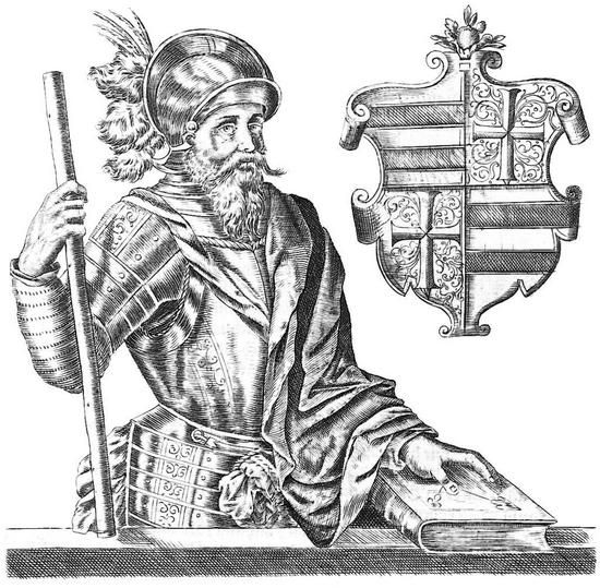 """Picture of Count Christoffer in Herman Hammelmanns Oldenburgisch Chronicon (1599). The civil war 1534-1536 is named after him """"Grevens Fejde"""" (The Count's Feud). He met with Skipper Clement in 1534 and endorsed him to raise the rebellion i Northern Jutland. The count is dipicted as wise (holding a book) and a warrior (holding the marshals rod of command)."""
