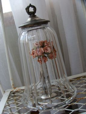 cloche made from a lid and glass sconce