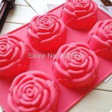 1 шт. 6 розы силиконовые формы торт мороженое шоколадные формы мыло 3D кекс формы для выпечки форма для выпечки кекса(China (Mainland))