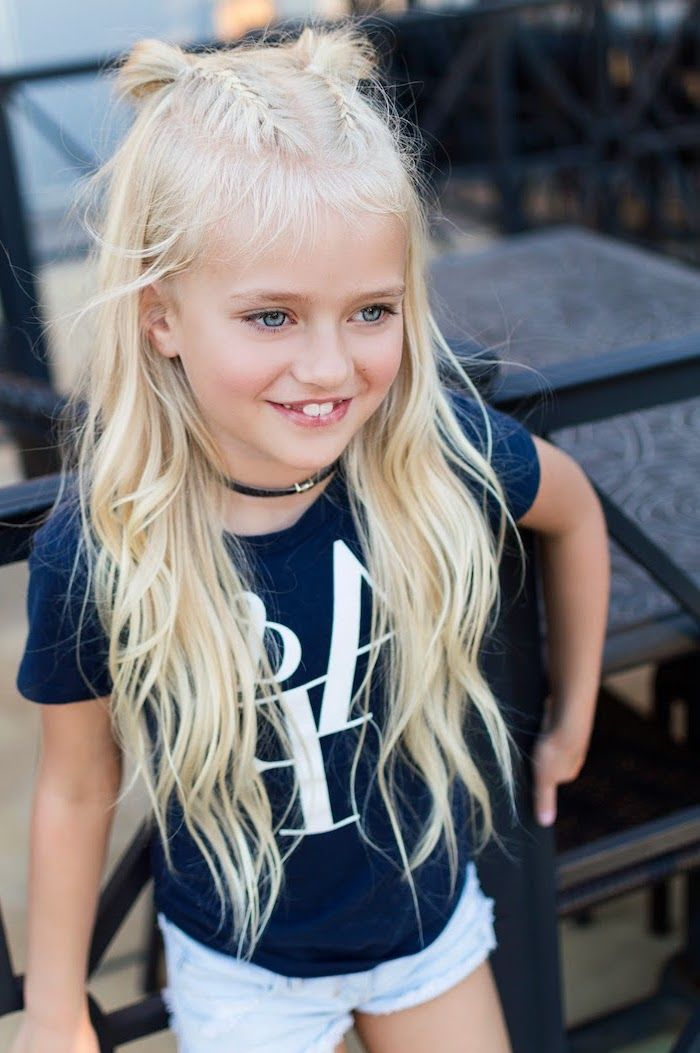Blonde Long Wavy Hair Cute Braided Hairstyles Two Braids Small Buns In 2020 Easy Little Girl Hairstyles Little Girl Hairstyles Blonde Hair Blue Eyes