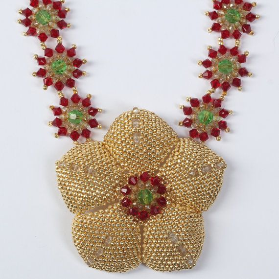 Beadwoven stunning necklace Star of India. Project by by Renarta