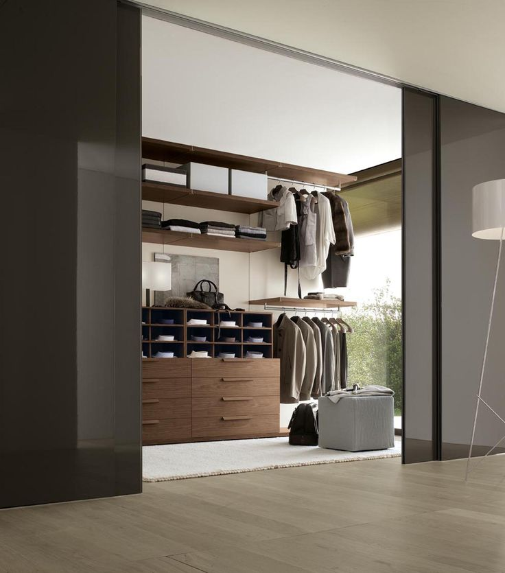 32 Elegant Walk In Closet Designs For Your Inspirations : Wonderful Walk-in Closet Design Idea With Dark Gray Wall Paint Color Also White Floor Lamp And Dark Brown Closet Storage Units Also Ceiling Height Glass Windows