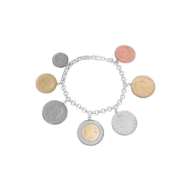 """Sterling Silver Italian Lira Coin Bracelet, Women's, Size: 7.5"""""""