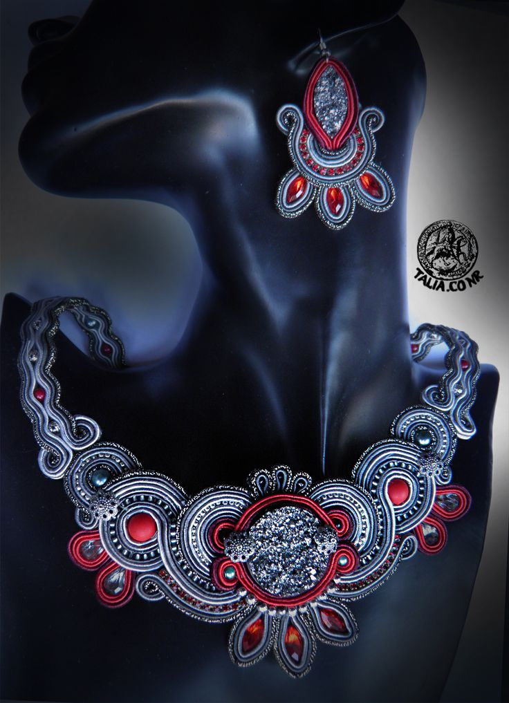 Red & Grey necklace & earrings