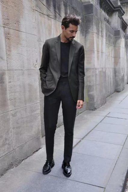 navy slacks black shoes