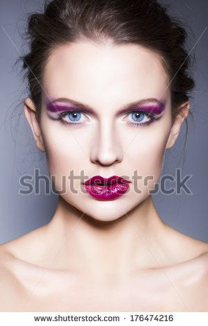 Sexy beauty girl with red lips and nails provocative make up luxury