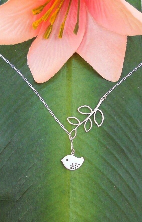 Cute!: Branches Necklaces, Cutest Necklaces, Birds Necklaces, Matte Silver, Silver Baby, Baby Birds, Lariat Necklaces, Branched Lariat, Handmade Jewelry