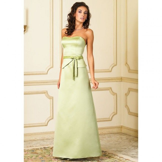 Sensational Satin Sheath/Column Strapless Spring Sleeveless Sashes/Ribbons Natural Lime Green Special Occasion Dresses
