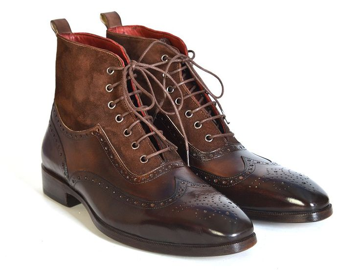 - Wingtip perforated men's lace up boots - Brown suede & calfskin upper - Antiqued leather sole - Bordeaux leather lining and inner sole This is a made-to-order product. Please allow 15 days for the d