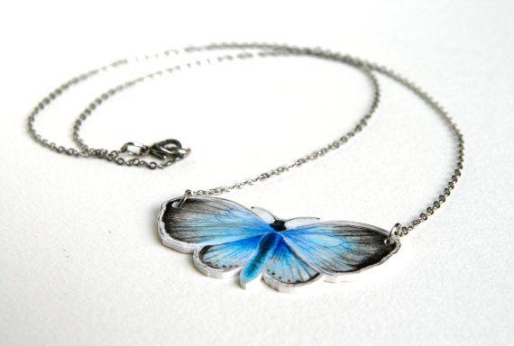 Collana con farfalla blu di GiuliaDragone su Etsy