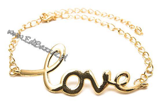 WALENTYNKI Złota Bransoletka LOVE łańcuch łańcuszek prezent dla niej
