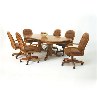 Mastercraft GS Furniture Classic Trestle Dining Table Set With Caster Chairs