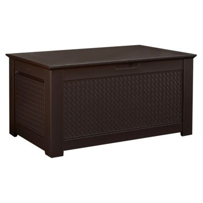 Rubbermaid patio chic storage bench deck box dark brown Deck storage bench
