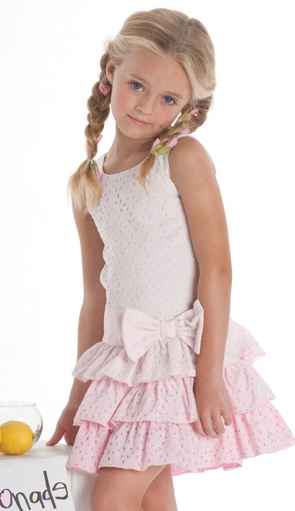 Biscotti ``Eyelet Blush`` Pretty in Pink Ruffle Drop Waist Dress Sizes 4-10