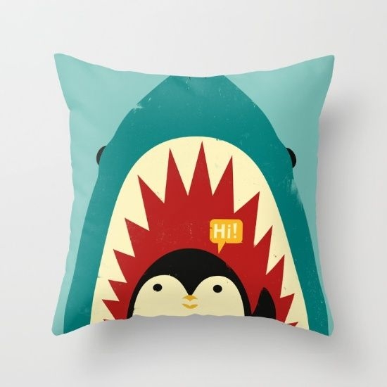 Hi! Throw Pillow by Jay Fleck. Worldwide shipping available at Society6.com. Just one of millions of high quality products available.