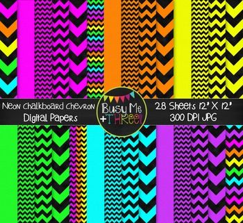 Neon & Black Chevron Digital Papers {Commercial Use Digital Graphics}