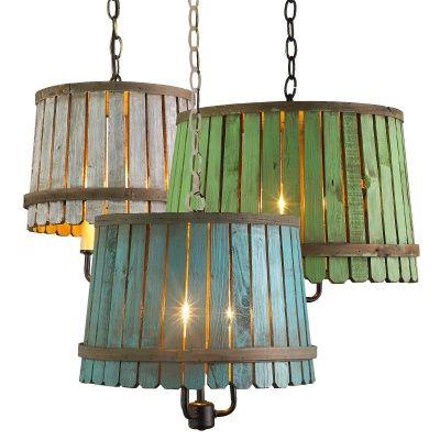 Lighting made from vintage bushel baskets.