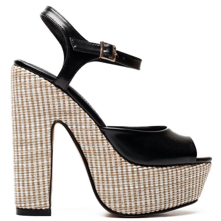 Black high-heel sandal with block heel and platform in special decoration