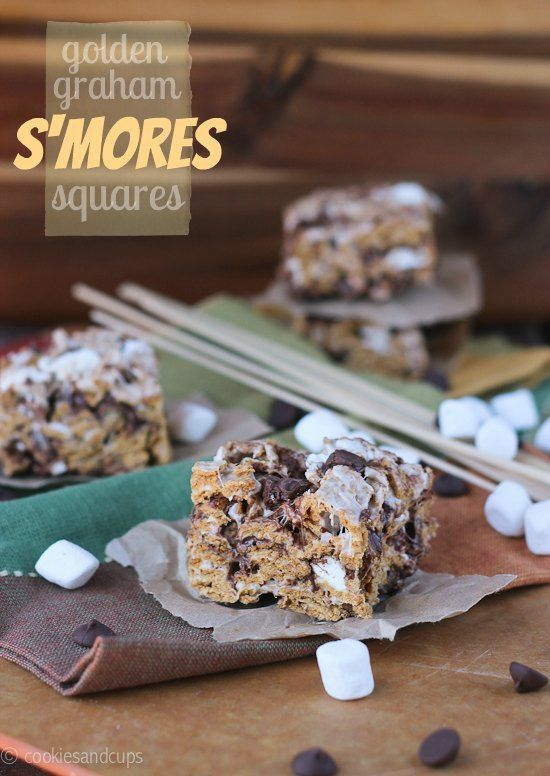Golden Graham S'mores Squares. A Golden Graham cereal square with loads of marshmallows and milk chocolate.