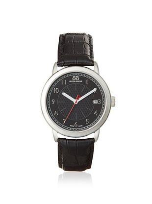 88 RUE DU RHONE Men's 87WA120030 Double 8 Origin Black/Silver Leather Watch