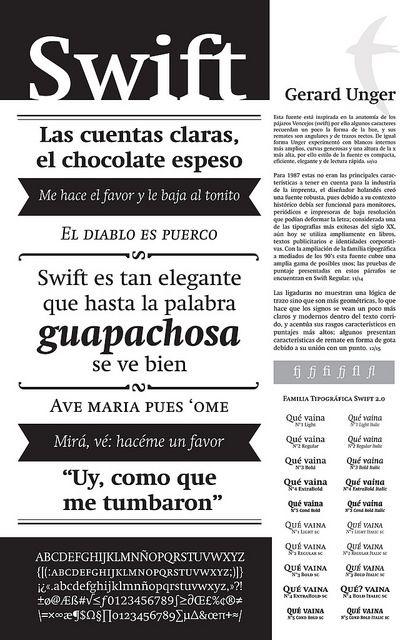 Swift especimen | Liliana Díaz Cruz #Type #Typography #Swift #Unger #specimen #Tipografía