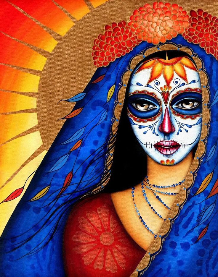 Soul Searching Mexican Death Mask by Cat Ashworth Tattoo Art Print
