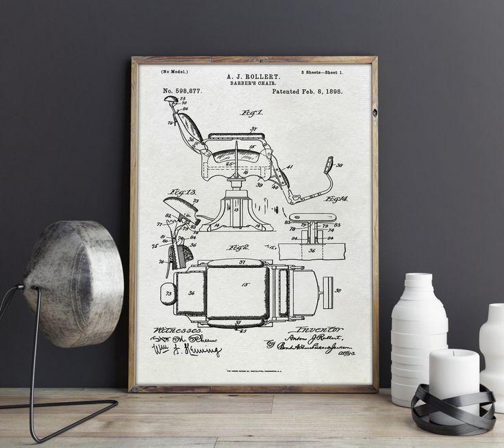Friseurstuhl Poster, Friseur-Stuhl Kunstdruck, Barbers Stuhl Print, US-Patent, Friseurstuhl, Patent, Patentdruck, Digitales Poster, Artprint von FineArtHunter auf Etsy