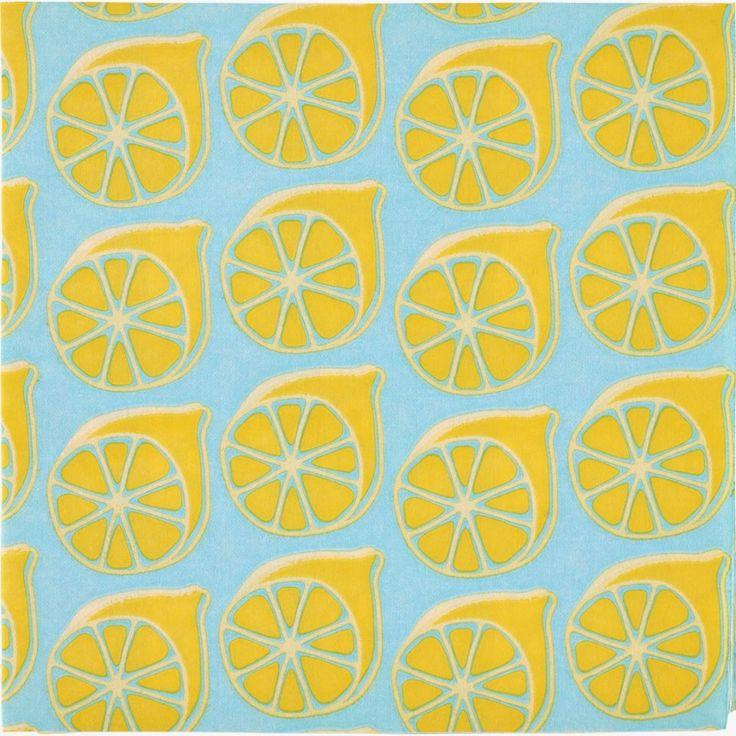Sitruunakuosiset QUIN-servetit #servetti #lautasliina #keltainen #sitruuna