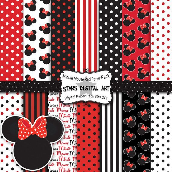 Minnie Mouse Red Paper Pack - 14 Digital Files - I gotta get this!!! Would make the cutest invitations!!