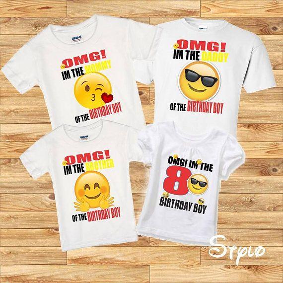 Emoji Family Shirts Birthday Boy Shirt Set Party Emojis Theme OMG Black Red Affiliate