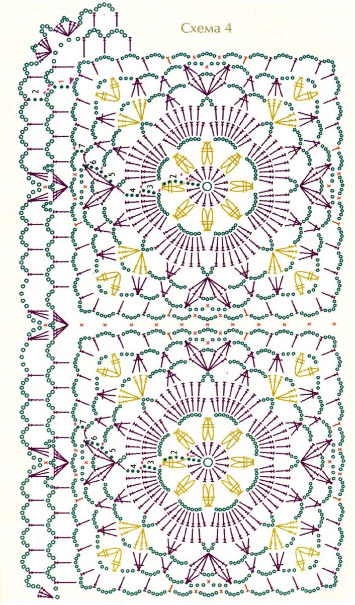 Floral squares with a crochet border make a lovely shawl. Site's in Russian, but the motif chart is all you really need.
