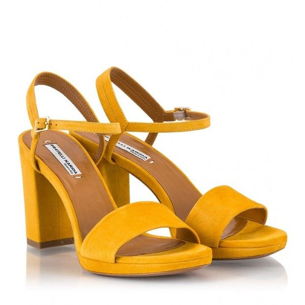 Fratelli Karida - Yellow suede high block heel sandals found on Polyvore featuring shoes, sandals, yellow, color block sandals, block-heel sandals, yellow suede shoes, colorblock shoes and suede leather shoes