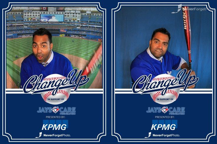 """Never Forget Photo can style your photobooth photostrips to personalized #baseballcards Check out this great pic of Mocha from the """"Roz & Mocha Show"""" on Kiss92.5 from the #bluejays Care foundation!"""