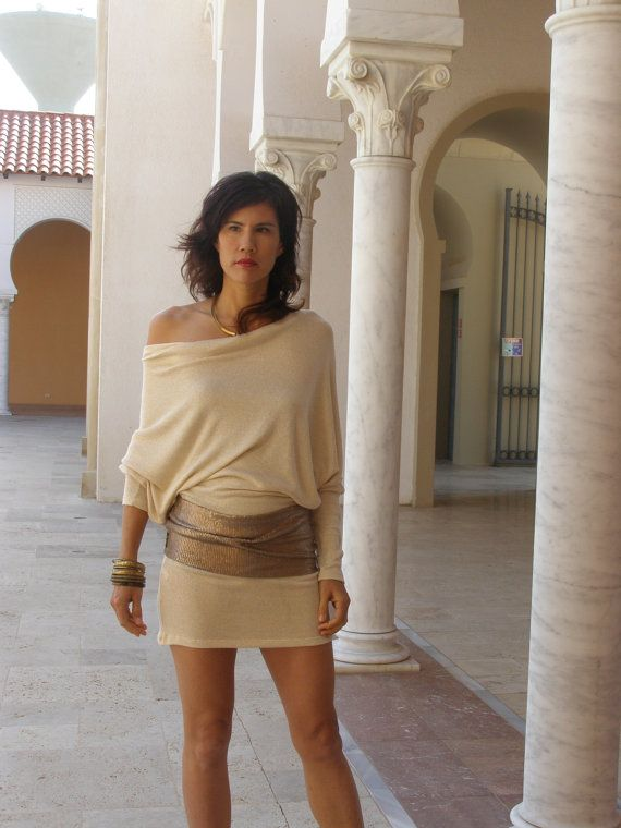 Elegant Womens tunic/top/mini dress-Womens clothing--Dolman tunic-Golden white Cowl neck Tunic with Bat sleeves and gold belt-Made to order